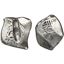 Lot of two Mexico City, Mexico, cob 4 reales, Charles II and Philip V, assayers not visible.