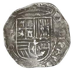 Mexico City, Mexico, cob 2 reales, Philip II, assayer O below mintmark oM to left.