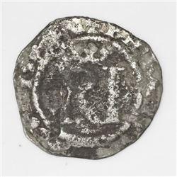 Lima, Peru, 1/2 real, Philip II, assayer R (Rincon) to left.