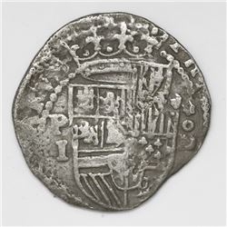 Lima, Peru, cob 1 real, Philip II, assayer Diego de la Torre, P-I to left, *-oD to right.