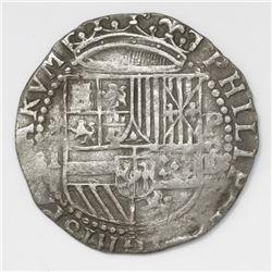 Lima, Peru, cob 1 real, Philip II, assayer Diego de la Torre, *-I to left, P-oD to right.