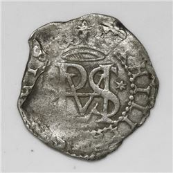 Lima, Peru, cob 1/2 real, Philip II, assayer Diego de la Torre, oD to left, * to right of monogram.