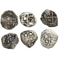 Lot of six Lima, Peru, cob 1R: 1692V, 1695R, 1697H, 1709M, 1710H and 1729N.