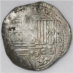 Potosi, Bolivia, cob 8 reales, Philip II, assayer A, error denomination as o-VIIII.