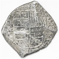 Potosi, Bolivia, cob 8 reales, Philip IV, assayer T/P (1620s).