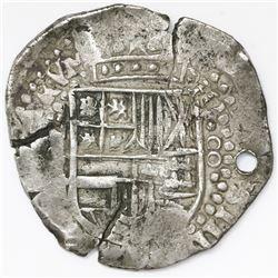Potosi, Bolivia, cob 8 reales, Philip IV, assayer not visible (1640s).