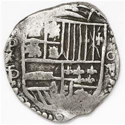 Potosi, Bolivia, cob 4 reales, Philip IV, assayer P/T (ca. 1622), quadrants of cross transposed.
