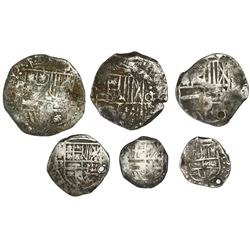 Lot of six Potosi, Bolivia, shield-type cob minors of Philip II-IV (assayers not visible): three 4R,