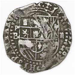 Potosi, Bolivia, cob 2 reales, Philip II, assayer B (2nd period).