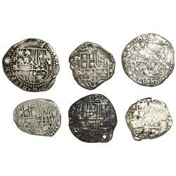 Lot of six Potosi, Bolivia, cob 2 reales, Philip II through Philip IV, various assayers (where visib