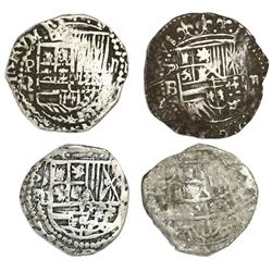 Lot of four Potosi, Bolivia, cob 2 reales, Philip II and III, assayers B, Q and not visible.