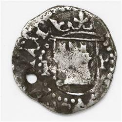Potosi, Bolivia, cob 1/4 real, Philip II, assayer R (Rincon) to left, mintmark P to right of castle.