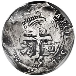 Potosi, Bolivia, cob 8 reales, 1679C, NGC VF details / cleaned.