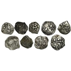 Lot of nine Potosi, Bolivia, cob 2 reales, Philip IV through Ferdinand VI: 1654E, 1658E, 1671E, 1678
