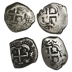 Lot of four Potosi, Bolivia, cob 2 reales: 1717Y, 1750E/q, 1751q, and 177(?)V-Y.