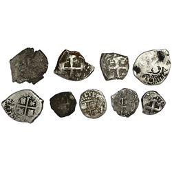 Lot of nine Potosi, Bolivia, pillars-and-waves cob minors of Philip IV through Ferdinand VI, various