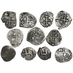 Lot of eleven Potosi, Bolivia, cob 1R, Philip IV through Charles III: 1653E, 1655E (2), 1663E, 1670E