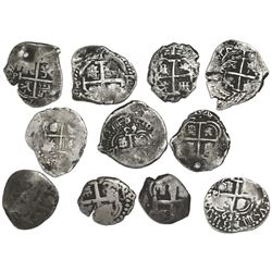 Lot of eleven Potosi, Bolivia, cob 1R, Philip IV through Charles III: 1653E, 1655E (2), 1663E, 1670E