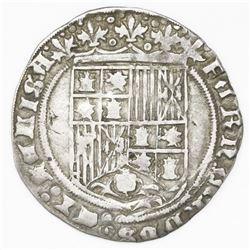 Burgos, Spain, 1 real, Ferdinand-Isabel, mintmark B below yoke and arrows, ermine and Jerusalem cros