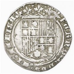 Burgos, Spain, 1 real, Ferdinand-Isabel, mintmark B below yoke and arrows, ermine and Jerusalem cros