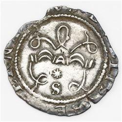 Seville, Spain, 1/2 real, Ferdinand-Isabel, assayer * above mintmark S below yoke.
