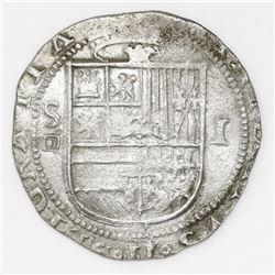 Seville, Spain, cob 1 real, Philip II, assayer Gothic D below mintmark S to left.