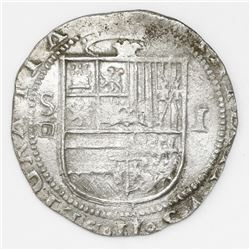 Seville, Spain, cob 1 real, Philip II, assayer Gothic D below mintmark S to left.