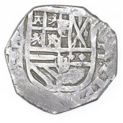 Toledo, Spain, cob 2 reales, 1628/7P.