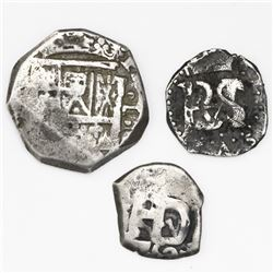 Lot of three Spanish and Spanish colonial silver-cob minors, various mints and periods: Spain (proba