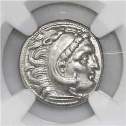 Kingdom of Thrace, AR drachm, Lysimachus, 305-2181 BC, in name of Alexander III (the Great), NGC AU.