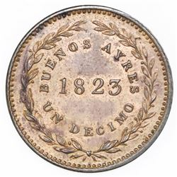 Buenos Aires, Argentina, copper 1 decimo, 1823, ex-O'Brien.