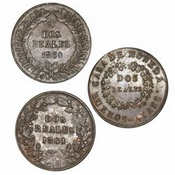 Lot of three Buenos Aires, Argentina, copper 2 reales: 1844, 1860, 1861.