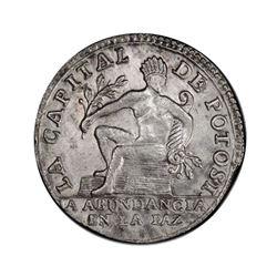 Potosi, Bolivia, 1 sol, (1845), Ingavi fourth anniversary / native, PCGS AU details / cleaned, ex-Wh