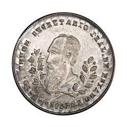 Potosi, Bolivia, PIEFORT 1/5 boliviano, 1865, Munoz, PCGS AU details / filed rims, ex-Whittier (stat