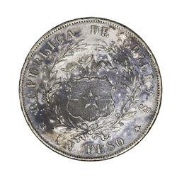 Santiago, Chile, 1 peso, 1855.