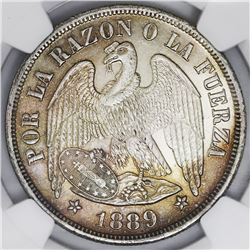 Santiago, Chile, 1 peso, 1889, NGC MS 63.