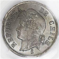 Santiago, Chile, copper-nickel 2 centavos, 1876, PCGS MS65.