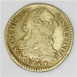 Popayan, Colombia, gold bust 1 escudo, Charles III, 1784SF.