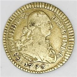 Popayan, Colombia, gold bust 1 escudo, Charles IV, 1793JF.