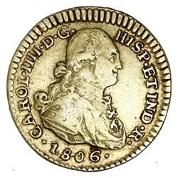 Popayan, Colombia, gold bust 1 escudo, Charles IV, 1806JF.