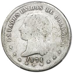 Popayan, Colombia, 5 decimos, 1874, re-punched 18, fineness 0,835/0,900, rare, PCGS VG details / cle
