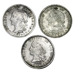 Lot of three Medellin, Colombia, 5 decimos, 1880, 1882 and 1883, eight-point stars, all very rare, R