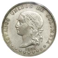 Medellin, Colombia, 5 decimos, 1886, fineness 0,500/0,835, decimos without accent, PCGS AU50.