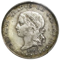 Lot of two Medellin, Colombia, 5 decimos, 1886/4, fineness 0,500/0,835, sharp 6 and round 6, PCGS XF
