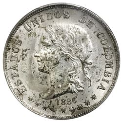 Lot of two Medellin, Colombia coins: 5 decimos, 1886, decimos with accent, PCGS XF details / scratch