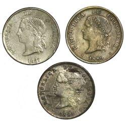 "Lot of three Colombian ""half dollars"": Medellin, 5 decimos, 1887; Bogota, 50 centavos, 1889 (two)."
