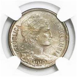 Colombia, copper-nickel papel moneda 2 pesos, 1910AM, NGC MS 64+.
