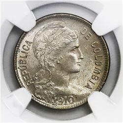 Colombia, copper-nickel papel moneda 2 pesos, 1910AM, NGC MS 64.