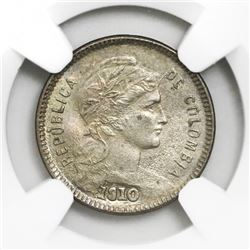 Colombia, copper-nickel papel moneda 1 peso, 1910AM, NGC MS 64, finest and only example in NGC censu