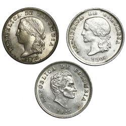 Lot of three Colombia 50 centavos: 1902 (Philadelphia), 1908 (Bogota), 1923 (Bogota).